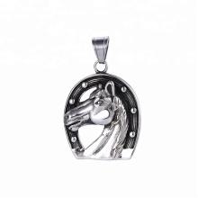 33509 xuping 2018 hot sale black gun cor de aço inoxidável jóias pingente de cabeça de cavalo