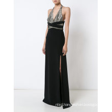 Long Black Halter Evening Dresses