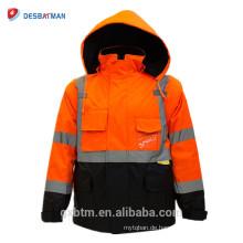 Winter Hallo-Viz Workwear Ansi Klasse 3 High Visibility Benutzerdefinierte Reflektierende Sicherheit Jacken Mit Reißverschluss