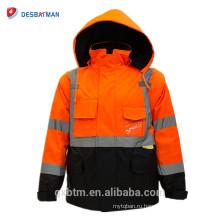 Зимний Привет Viz Спецодежды ANSI Класс 3 Высокая Видимость Безопасности Светоотражающий Пользовательские Куртки С Застежкой-Молнией