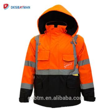 Veste de sécurité réfléchissante faite sur commande de haute visibilité de la classe 3 Ansi-Viz d'hiver de vêtements de travail avec la tirette