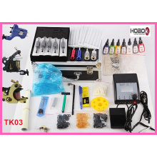 Komplette Tattoo Kit Maschinen Farbe Tinten Power Supply Tko3