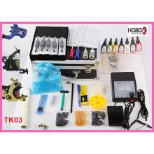 Máquinas completas del kit del tatuaje Tintas del color Fuente de alimentación Tko3