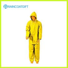 Rainsuit de los hombres amarillos del poliester del PVC 2PCS (Rpp-034)
