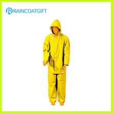 2PCS Gelb PVC Polyester Herren Regenanzug (Rpp-034)