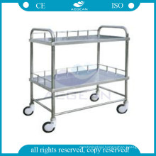 AG-SS020 Two layers operating room medical equipment SS instrument trolley