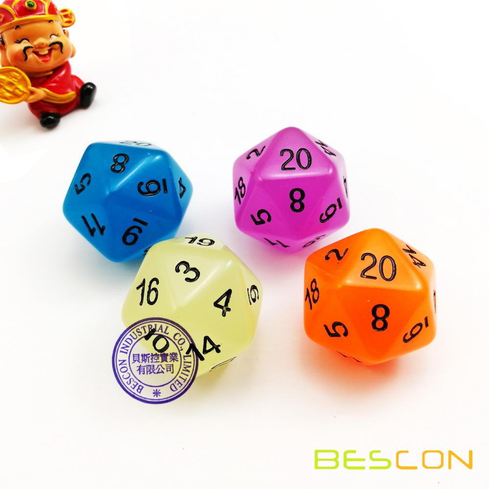 Ensemble de 7 morceaux en polyédon de Bescon: GLOW IN DARK Dice Set in Purple Color