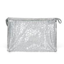 Леди мода серебра нейлоновая сетка косметический мешок сцепления (YKY7536-1)