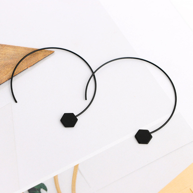 Thin Black Hoop Earrings