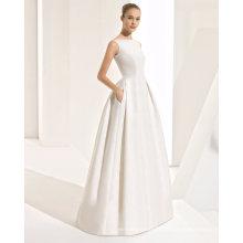 Sexy V Neck Back with Bow Belt Pocket Bridal Wedding Dress