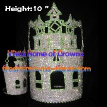 10inch Wholesale Crystal Green Castle Crowns