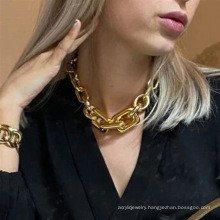 Metal CCB resin necklace hip-hop short bohemian style clavicle chain