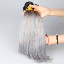 T ombre dark root black to grey Brazilian virgin human hair weave