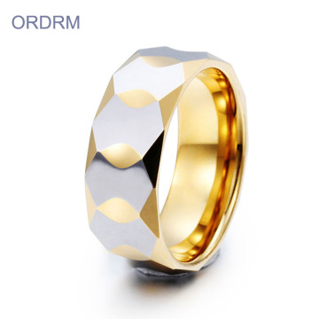 Faceted Two Tone Tungsten Mens Wedding Band