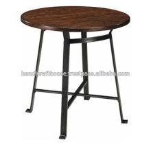 Top de madeira redondo industrial com base de metal Mesa de bar alto