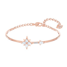 European American Fashion Jewellery Silver Rose Gold Jewelry Gifts Stars and Moon Bangle Bracelets for Women