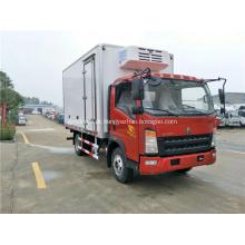 Sinotruk HOWO 129HP caminhão refrigerado de uma fileira de 4.2 metros