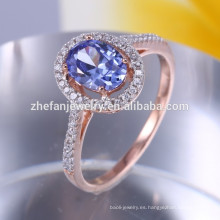 Chapado en oro champán 925 sol anillo de plata con piedra azul