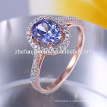 Bague plaqué champagne or 925 argent avec pierre bleue
