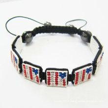 Bracelets de drapeaux carrés Shamballa faits à la main USA Bracelet BR21
