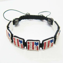 Handmade Square Shamballa Bracelets USA Flag Bracelets BR21