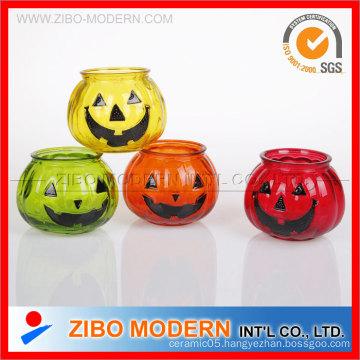 Hallowmas Decoration Smile Pumpkin Glass Candle Holder