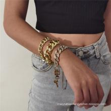 European and American Fashion Jewellery Gold Silver Jewelry Hip Hop Punk Cuban Metal Lock Key Diamond Thick Chain Bracelet for Women