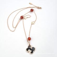 Funky usure quotidienne collier en caoutchouc à trèfle réglable en pierre naturelle