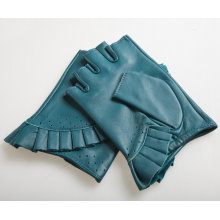 Lady Fashion Sheepskin Leather Fingerless Driving Gloves (YKY5073)