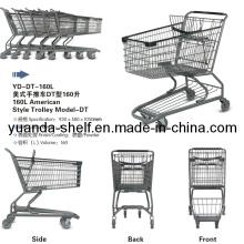 Carretilla plegable de la cesta de compras del metal del estilo americano