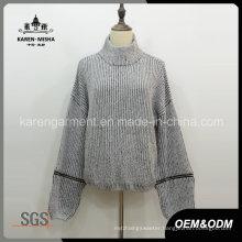 Turtleneck Textured Knit Loose Melange Pullover Sweater