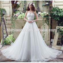 Sexy tiefem V-Ausschnitt geschnürt Meerjungfrau Zug Backless Hochzeitskleid Import aus China