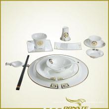 Vajillas Chinas Líneas decorativas doradas con carácter chino de bendición