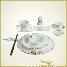 Chinese Tableware Golden Decorative Lines with Chinese Blessing Character