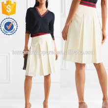 Grosgrain-trimmed Pleated Washed-silk Skirt Manufacture Wholesale Fashion Women Apparel (TA3033S)