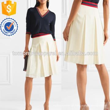 Saia de seda lavada com gorgorão-aparado plissado fabricação atacado vestuário de moda feminina (TA3033S)