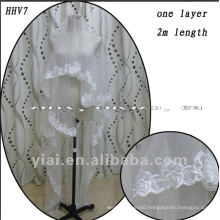 HHV7 2011 Wholesale New One Layer Lace Edged Beads Real Sample Bride Wedding Veil