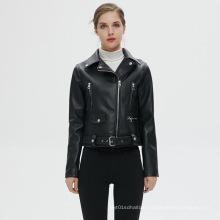 Customized Women Zipper PU Leather Jacket