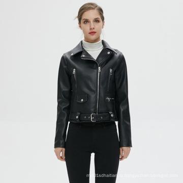 Индивидуальная женская кожаная куртка на молнии из искусственной кожи