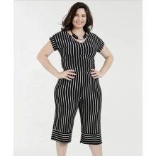 Women Casual V-neck Short Sleeve Stripe Jumpsuits