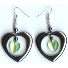 Hematite Earring With 925 Love Silver Hook