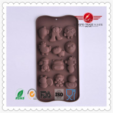 Molde animal engraçado do bolo de chocolate do silicone da forma