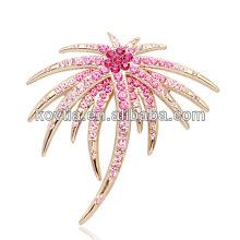 Lady favorite gold brooch pink crystal rhinestone brooch