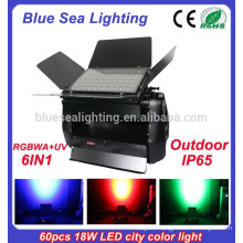 60pcs x 18w rgbwa uv 6in1 outdoor led lights wall washer