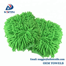 China factory custom noodle duster chenille car wash mitt with custom packaging