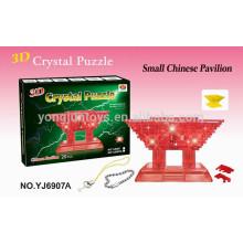 3D rompecabezas DIY cristal chino Pavilion juegos de puzzle con la luz