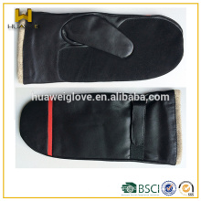 Warmth suede mitten type of glove men's black fashion leather gloves with wool lined