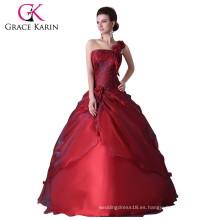Grace Karin nuevo estilo de un hombro rojo piso de longitud rojo Quinceanera vestidos CL2514