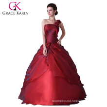 Grace Karin New Style of One Shoulder Red Floor Length Red Quinceanera Dresses CL2514