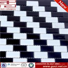 feito na telha de mosaico misturada preta e branca do vidro de cristal da porcelana para o projeto da cozinha